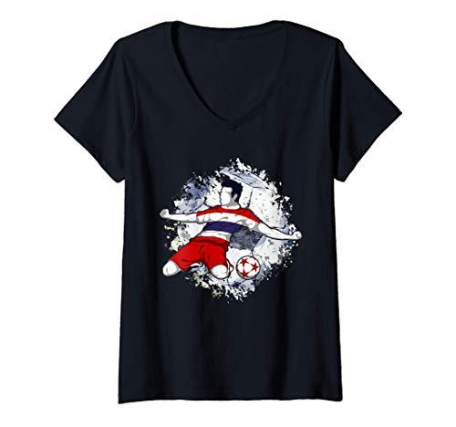 Mujer Tailandia Fútbol Bandera Nacional Tailandesa Soccer Lovers Camiseta Cuello V