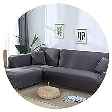 JIAN YA NA - Funda de sofá, extensible, de poliéster, para sofá de ángulo + 2 fundas de almohada, tela, gris, 4 Place + 4 Place