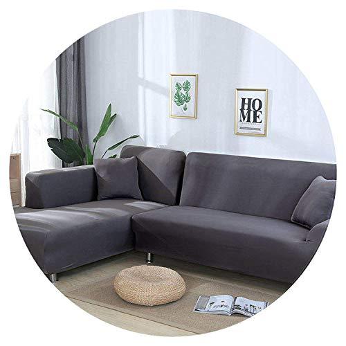 JIAN YA NA Sofabezug dehnbar Ecksofabezug aus Polyester dehnbar für Sofa in L + 2 Kissenbezüge, Stoff, grau, 2 Place + 3 Place