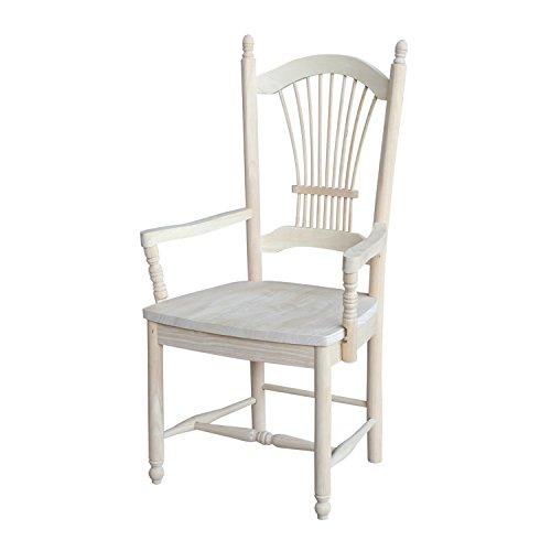 International Concepts Sheaf Back Arm Chair, Unfinished