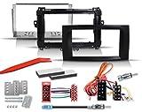 Set de instalación de radio de 2 DIN con marco de radio, adaptador de radio ISO y adaptador de antena compatible con Mercedes Benz Sprinter, Vito, Viano, Clase A y Clase B (ISO - DIN).