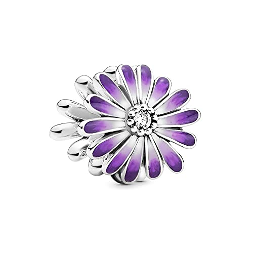 Annmors Purple Daisy Charms 925 Sterling Silver Flower Bead with Enamel para Pulseras