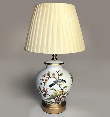 YU-UO Lámpara De Mesa De Cerámica China Lámpara De Pie Decorativa Dormitorio De Estudio Creativo Lámpara De Cabecera,Artesanía, Flores Y Pájaros, Porcelana Azul Y Blanca