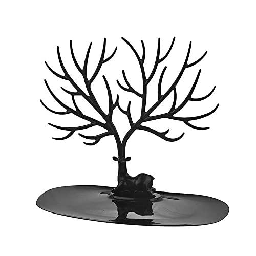 WOODEEL Soporte de exhibición de Joyas Tray Tree Storage Pendientes Pendientes Anillo Anillo Joyería Almacenamiento Rack(Black)