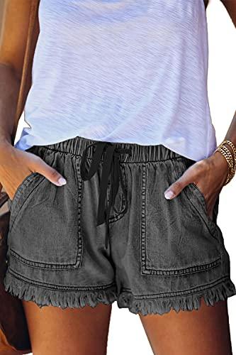 YOCUR Teen Girls 10-12 Jean Shorts Mid Waisted Paperbag Drawstring Tassel 3 Inseam Petite Denim Shorts Summer Casual Cute Juniors Shorts Grey L