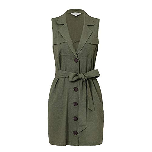 Elegant Short Blazer Women Dress Sexy Bow Belt Tie Solid Mini Dress Linen Button Beach Wrap Dresses Shirt-Green-Large