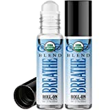 Organic Breathe Blend Roll On Essential Oil Rollerball (2 Pack - USDA Certified Organic) Pre-diluted with Glass Roller Ball for Aromatherapy, Kids, Children, Adults Topical Skin Application - 10ml