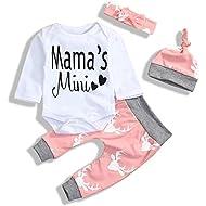 i-Auto Time 4Pcs Newborn Baby Girl Clothes Mama's Mini Romper+Deer Pants+Hat+Headband Christmas Outfits Set