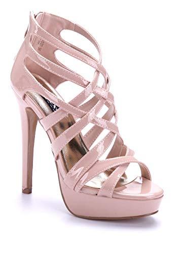 Schuhtempel24 Damen Schuhe Plateausandaletten Sandalen Sandaletten rosa Stiletto 14 cm High Heels
