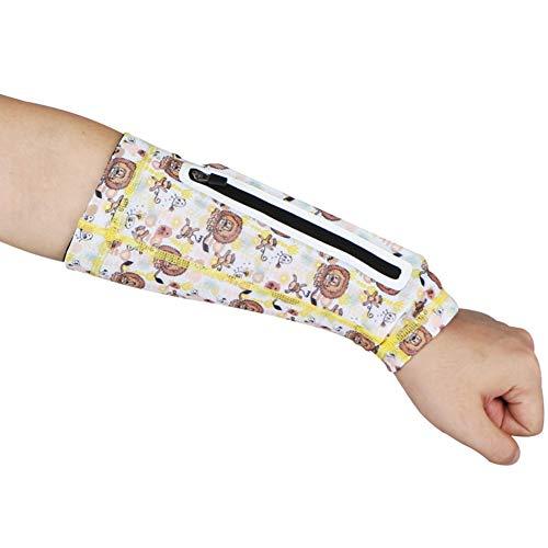 NSDD Soporte de brazo, manga de apoyo de brazo deportivo, manga de compresión, protección solar UV con bolsa de teléfono con cremallera para correr, baloncesto, tenis, entrenamiento