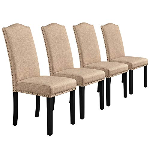 Yaheetech Dining Chairs Fabric Parson Chairs with Rubber Wood Legs and Upholstered Backrest for Dining Room, Living Room, Hotel, Restaurants, Set of 4, Khaki