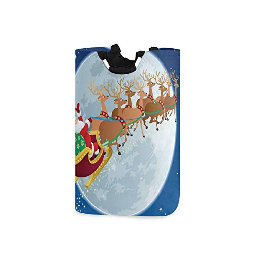 BEITUOLA Wäschesammler Wäschekorb Faltbarer Aufbewahrungskorb,Santa Fantastic Christmas Night Print,Wäschesack - Wäschekörbe - Laundry Baskets