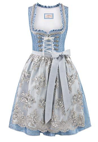 Stockerpoint Damen Dirndl Anastasia Kleid für besondere Anlässe, hellblau-Silber, 42