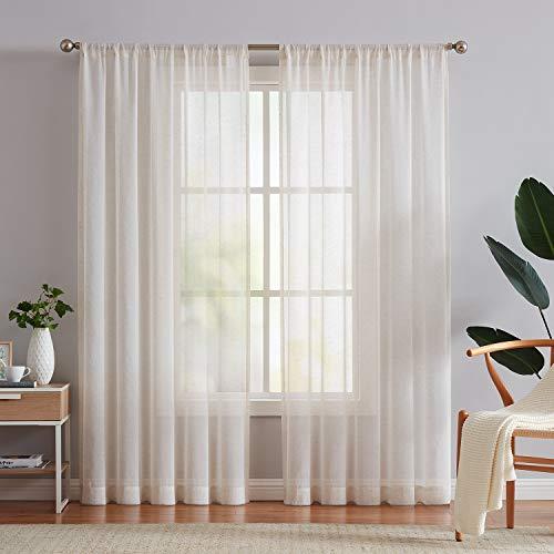 "Fmfunctex Linen Flax Sheer Curtain Panels 96""-Long Living Room Retro Window Draperies for Bedroom Rod Pocket Sheers 52"" Wide x 2 Pack, Natural"