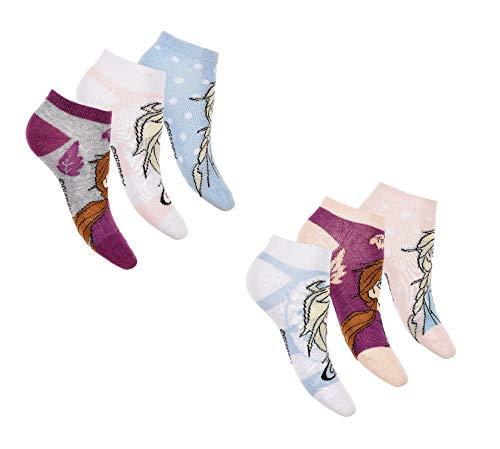 Mädchen Sneaker Socken | Die Eiskönigin Frozen Füßlinge | 6 Paar 23-26 / m