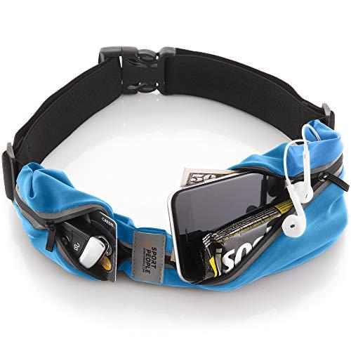 Sport2People Cinturón de correr, patentado en E.E. U.U., Riñonera iPhone X 6 7 8 para hombres y mujeres (talla única, 2 bolsillos, Azul)