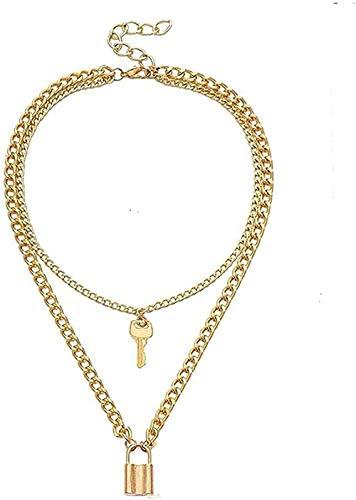 NC110 Collar Llave Collar Candado Collares Pendientes para Mujer Collar de Bloqueo Cadena en Capas en el Cuello Punk Joyería de Moda Femenina para Mujeres Hombres Regalo