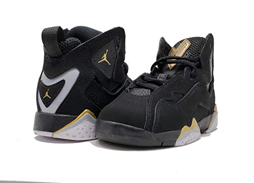 Jordan Air True Flight Preschool Black/Metallic Gold-Wolf Grey, Size 12 US