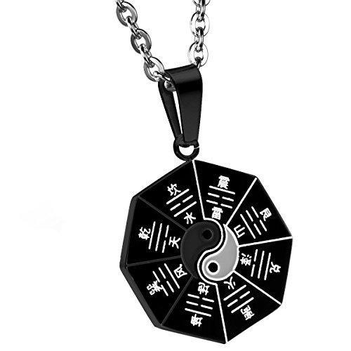 Cupimatch da uomo, in acciaio INOX, retro rotondo amuleto ciondolo Tai Chi otto diagrammi Yin Yang collana con catena da 55,9cm