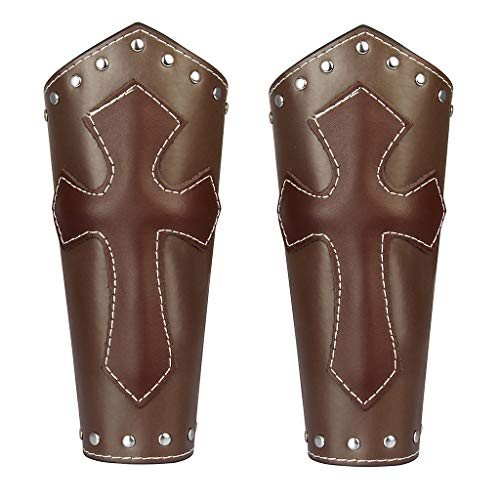 Medieval Bracers Knight Genuine Leather Gauntlet Wristband Wide Bracer Arm Armor Cuff for Men