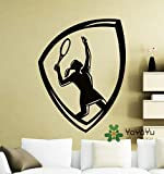 yaonuli Amovible Sports Dames Tennis Wall Sticker Sports Tennis Player Vinyle Decal Décoration de La Maison Vinyle 56x87 cm