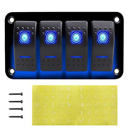 LSXLSD Accesorios de interruptor de la luz delantera LED 3-dígitos Rocker Interruptor de interruptor de encendido Power Socket 3.1A Dual USB Cableado Kit y etiqueta etiqueta DC12V 24V para barcos mari