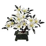 ffshop bonsái Artificial Artificial Bonsai Jade White Orchid Bonsai Chinese Decorative Bonsai Description Display Fake Tree Pot Ornamentos para la Tienda de Oficina en casa para decoración