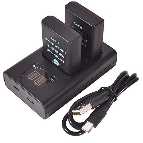 DSTE EN-EL14 EN-EL14A Batería Recargable (Paquete de 2) y Cargador USB Dual LED Inteligente compatibles con Nikon D5100 D5300 D5500 D3400 D5600 D3500 P7000 P7200 P7800