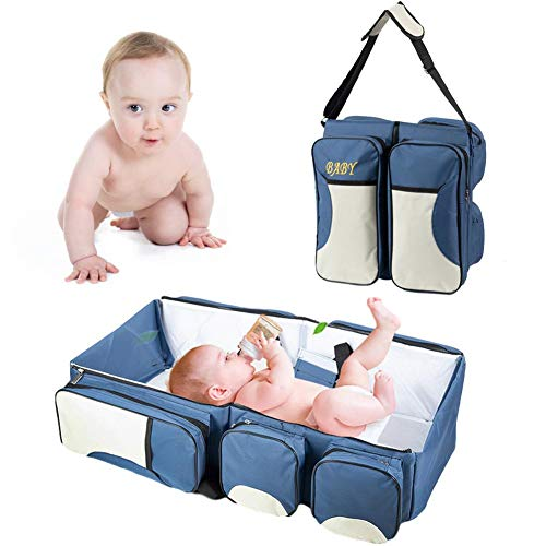Covcow 3-in-1 Baby Travel Bag, Portable Crib, Diaper Changing Table Pads, Large Diaper Tote, Diaper Bag for Baby Newborns, The Best for New Mom and Dad