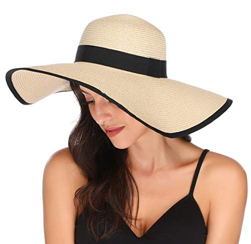Lanzom Womens Wide Brim Straw Hat Floppy Foldable Roll up Cap Beach Sun Hat UPF 50+ (Style C-Beige)