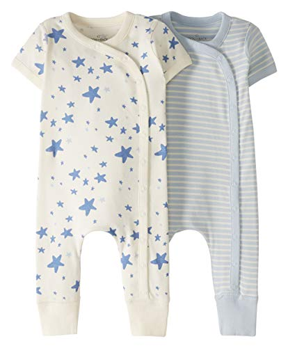 Moon and Back by Hanna Andersson Baby 2 Pack Romper, Light Blue, 0-3 mos