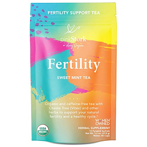Pink Stork Fertility Tea: Sweet Mint, Raspberry Leaf Tea, USDA Organic, Fertility Tea for Women to Help Support Prenatal Vitamins + Hormones + Cycle, Women-Owned, 30 Cups