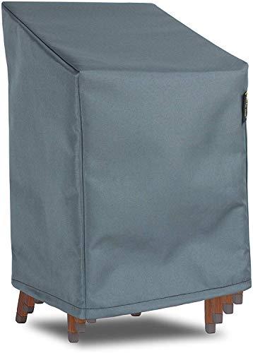 HENTEX Abdeckung für aufeinandergestapelte Gartenstühle, Wasserdicht, Winddicht, UV-Beständiges, Mit Zugband und Befestigungsclips, bis zu 3 Stühle, Grau, 67x67x80/110H cm
