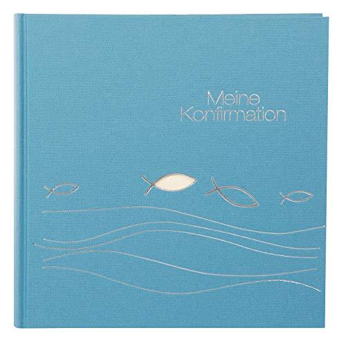goldbuch 03023 Fotoalbum für die Konfirmation, Ichthys, Erinnerungsalbum 25x25 cm, Fotobuch mit 60 weiße Seiten & 4 Seiten Textvorspann, Album aus Naturpapier, Blau