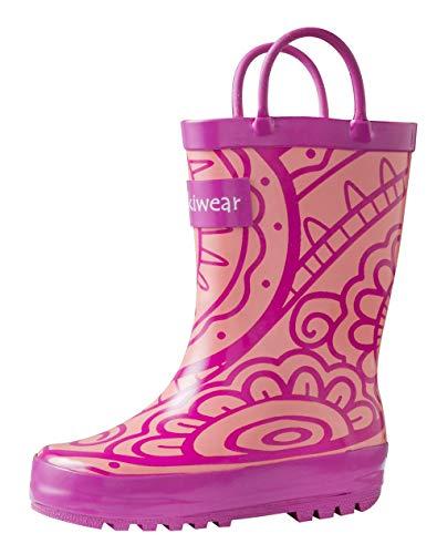 Oakiwear Girls' Wellies Rubber Rain Boots 4 UK Pink Toddler
