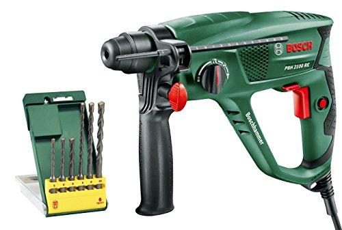 Bosch Bohrhammer PBH 2100 RE (Tiefenanschlag, Zusatzhandgriff, Koffer, 550 Watt) + Bosch DIY 6tlg. Bohrer-Set (SDS-plus-1)