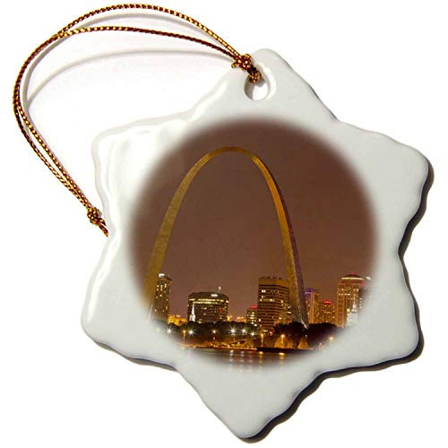 Christmas gift Gateway Arch, St Louis, Mississippi River, Missouri US CHA Chuck Haney Snowflake Porcelain Ornament, 3-Inch