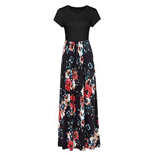WFE&QFN SuéterVestido Bohemio con Estampado Floral Vintage Vestido Largo Largo para Mujer Fiesta de Noche...