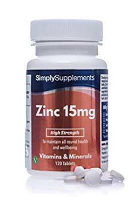 SimplySupplements Zinc 15mg Support for Immune & Skin Health 120 Tablets from Simply Supplements