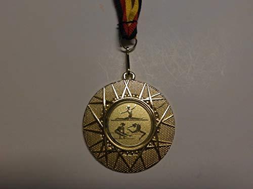 Fanshop Lünen 20 x Medaillen aus Metall 50mm - mit Einem Alu Emblem - Turnen - Gymnastik - Bodenturnen - inkl. Medaillen-Band - Farbe: Gold - mit Emblem 25mm - (e225) -