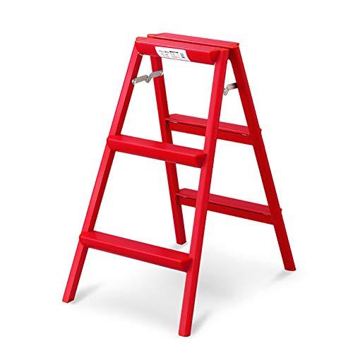 LRZLZY 3-Stufen-Trittschemel verdickte Aluminiumlegierung Haushalt Folding Leitern Tragbarer Hocker (rot) Stabilität und Sicherheit
