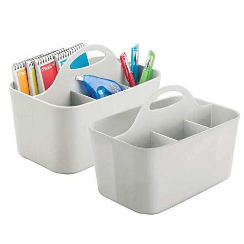 mDesign Small Office Storage Organizer Utility Tote Caddy Holder with Handle for Cabinets, Desks, Workspaces - Holds Desktop Office Supplies, Gel Pens, Pencils, Markers, Staplers - 2 Pack - Light Gray