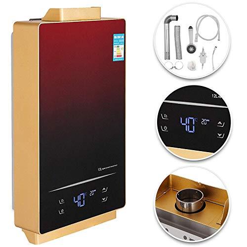 ZGYQGOO 12L LNG Erdgas Durchlauferhitzer 36KW 3.2GPM Touchscreen On Demand Durchlauferhitzer Indoor-LED-Anzeige Durchlauferhitzer mit Duschkopf Kit (12L-LNG)