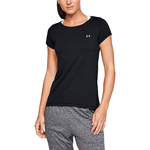Under Armour Damen UA HeatGear Armour Short Sleeve atmungsaktives T-Shirt für Frauen, kurzärmliges Funktionsshirt mit enganliegender Passform, Schwarz (Black/Metallic Silver (001), Medium