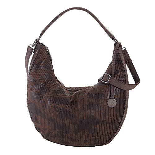 Prato Beuteltasche Rhodo Schultertasche für Damen aus Kunstleder, Umhängetasche für Freizeit (braun)