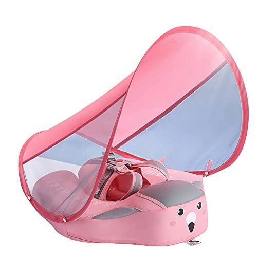 Qagazine Flotador de natación para bebé, no inflable para piscina con toldo desmontable para sombrilla con anillo de asiento seguro para niños de 6 a 36 meses
