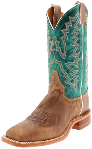 """Justin Boots Women's U.S.A. Bent Rail Collection 11"""" Boot Wide Square Double Stitch Toe Leather Outsole,Burnished Tan,Black Tan """"America""""/Turquoise Ponteggio Calf,8 B US"""
