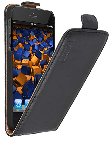mumbi Echt Leder Flip Hülle kompatibel mit iPhone SE / 5 / 5S Hülle Leder Tasche Hülle Wallet, schwarz