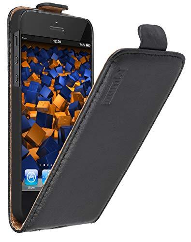 mumbi PREMIUM Custodia in vera pelle compatibile con iPhone SE 5 5S, nero