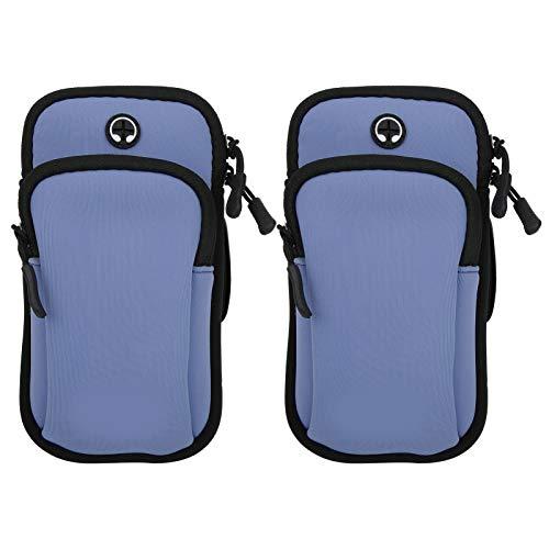 Alomejor 2 Piezas para Correr con Brazalete para teléfono, Bolsa Impermeable para Brazo Deportivo con Bolsillos Separados(Gris Azul)